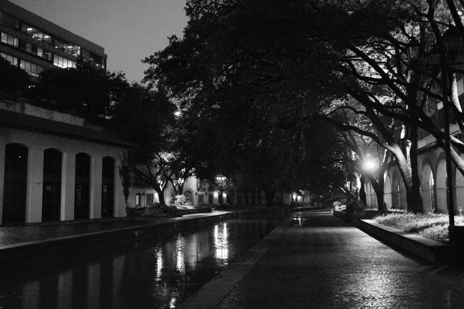 A B&W photo of a water way and Dallas in the dark.