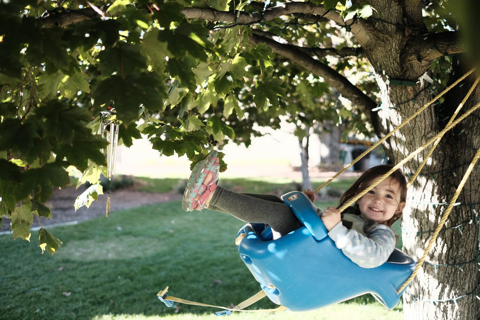 A cute little girl in a swing smiles at the camera.